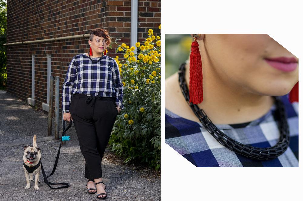 top, pants and necklace - Reitmans | earrings - Aldo Accessories | shoes - Le Château | dog - Wilbur