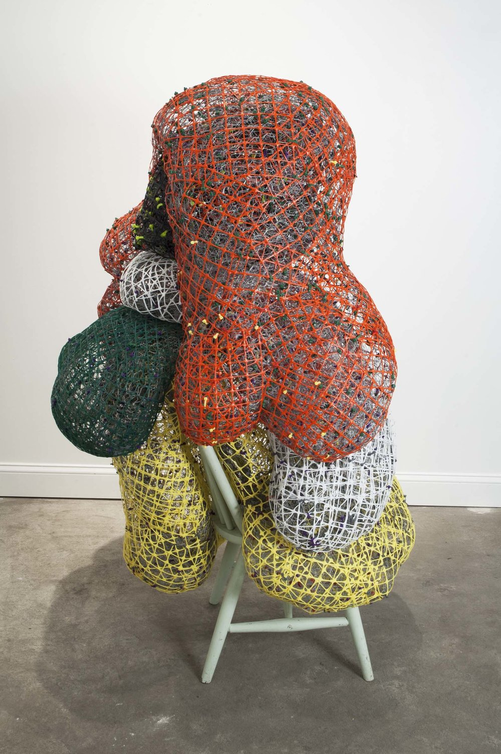 "Dirty Laundry   plastic+metal fencing, chair  69"" x 39"" x 43""  2015"