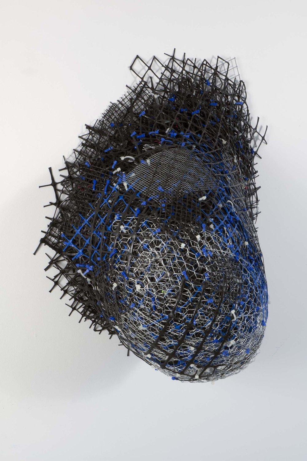 "Emerge   plastic+metal fencing  40"" x 28"" x 18""  2013"