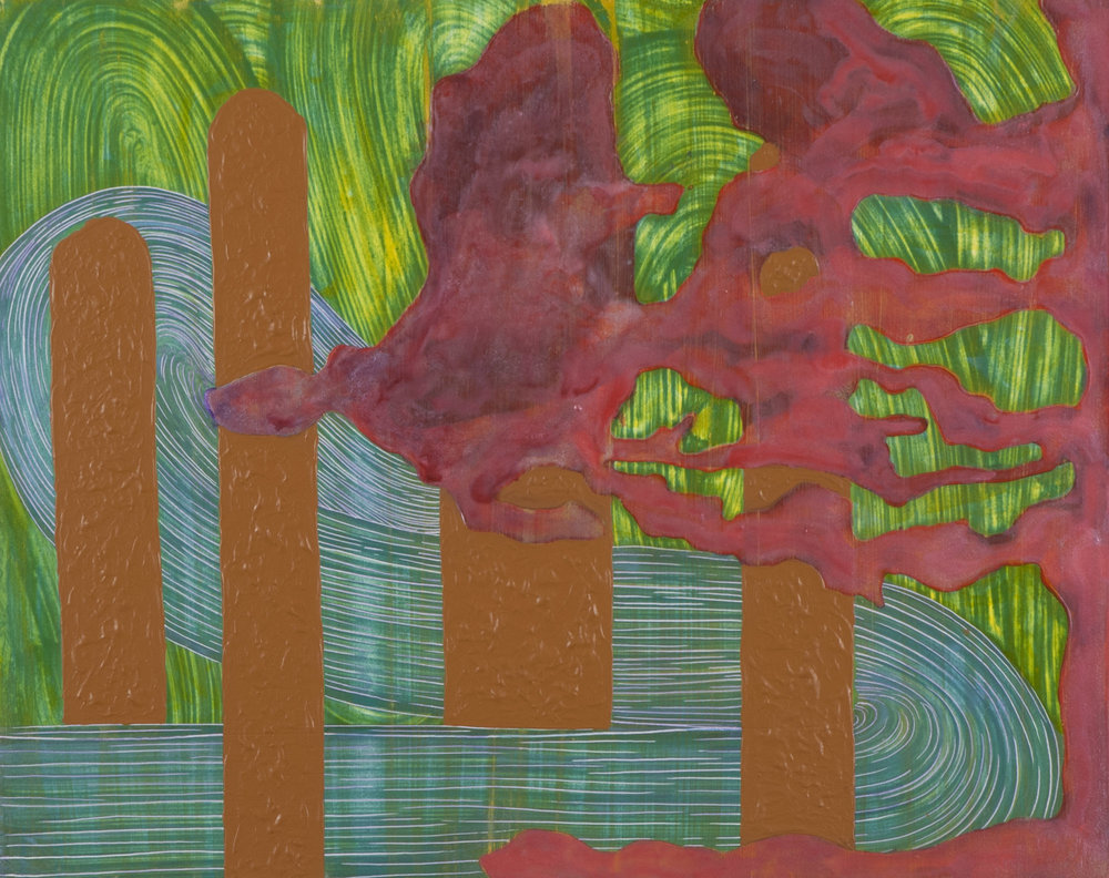 "Pink_Brown_Green 'scape   acrylic  16"" x 20""  2013"