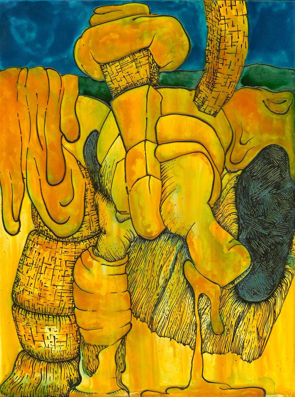 "Yellow_Gold_Turquoise Drip   acrylic  24"" X 18""  2015"