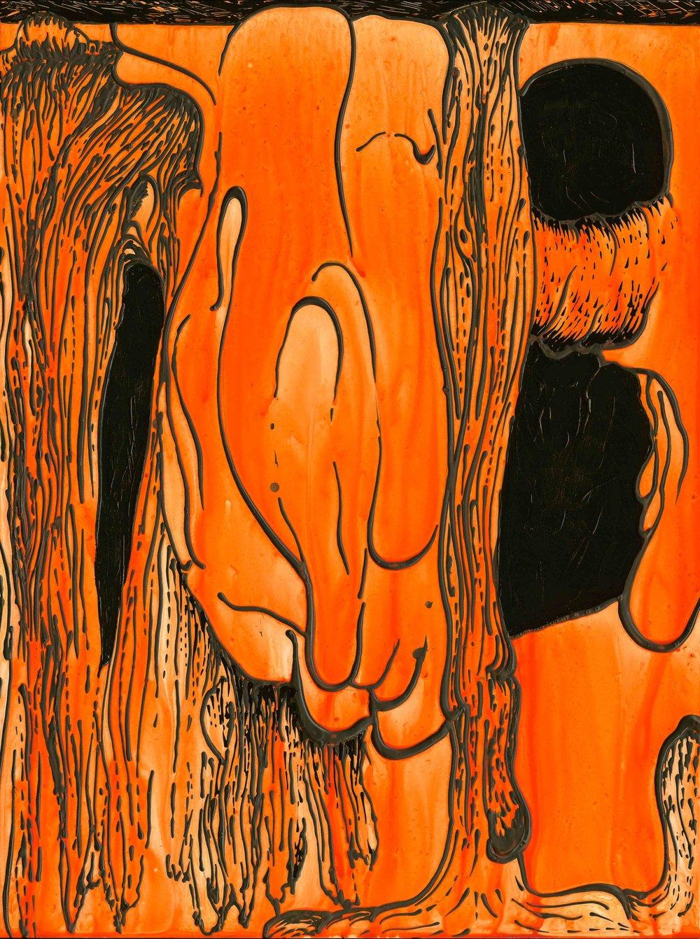 "Orange Drip   2015  acrylic  16 X 12"""