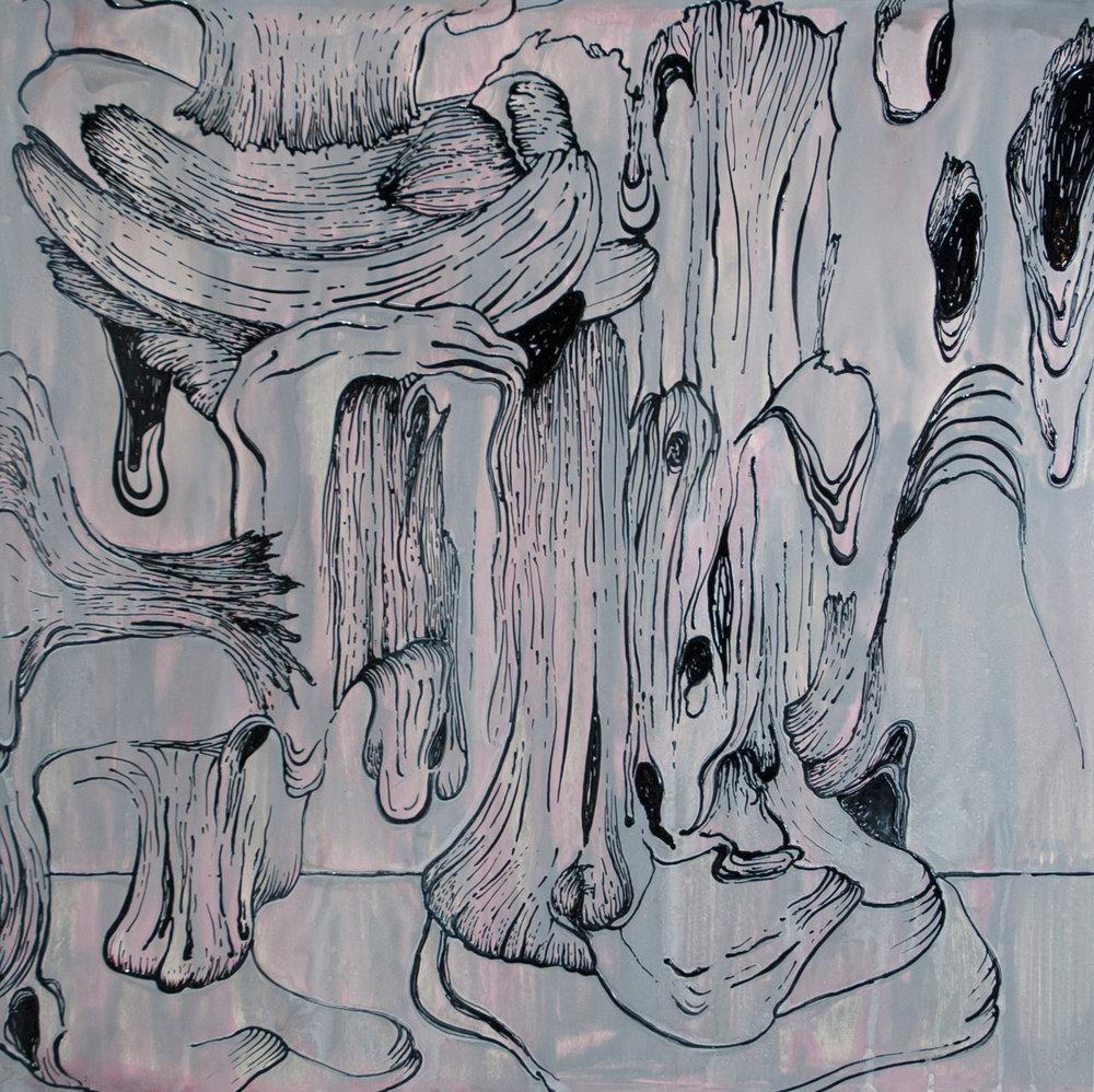 "Pink_Gray Drip   acrylic  30"" X 30""  2015"