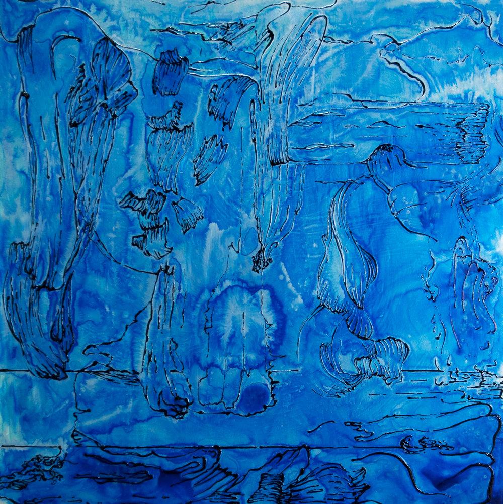 """Blue_Silver Drip   acrylic  30"""" X 30""""  2015"""
