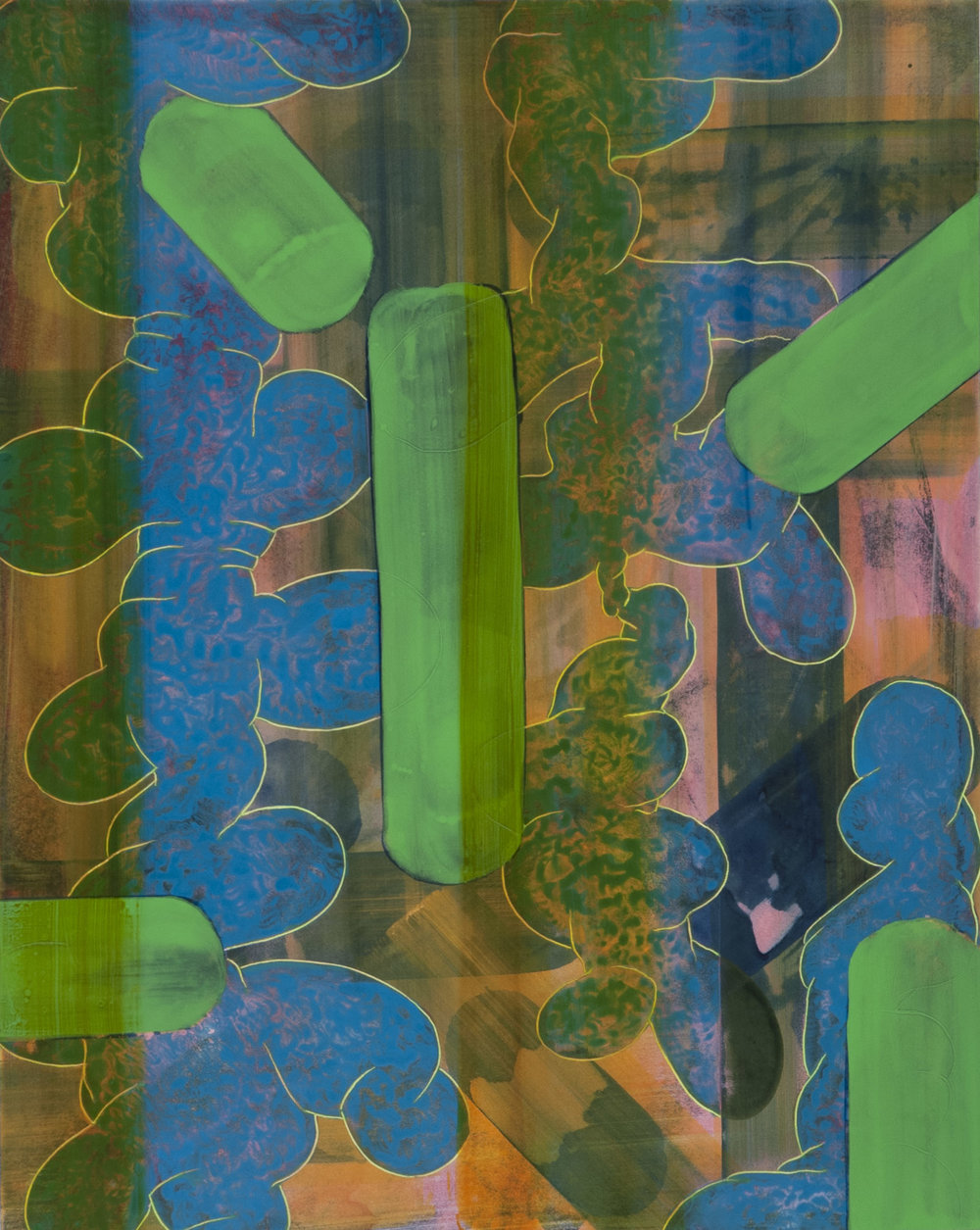 "Lime Geen_Blue_Pink Abstraction   acrylic  20"" X 16""  2013"