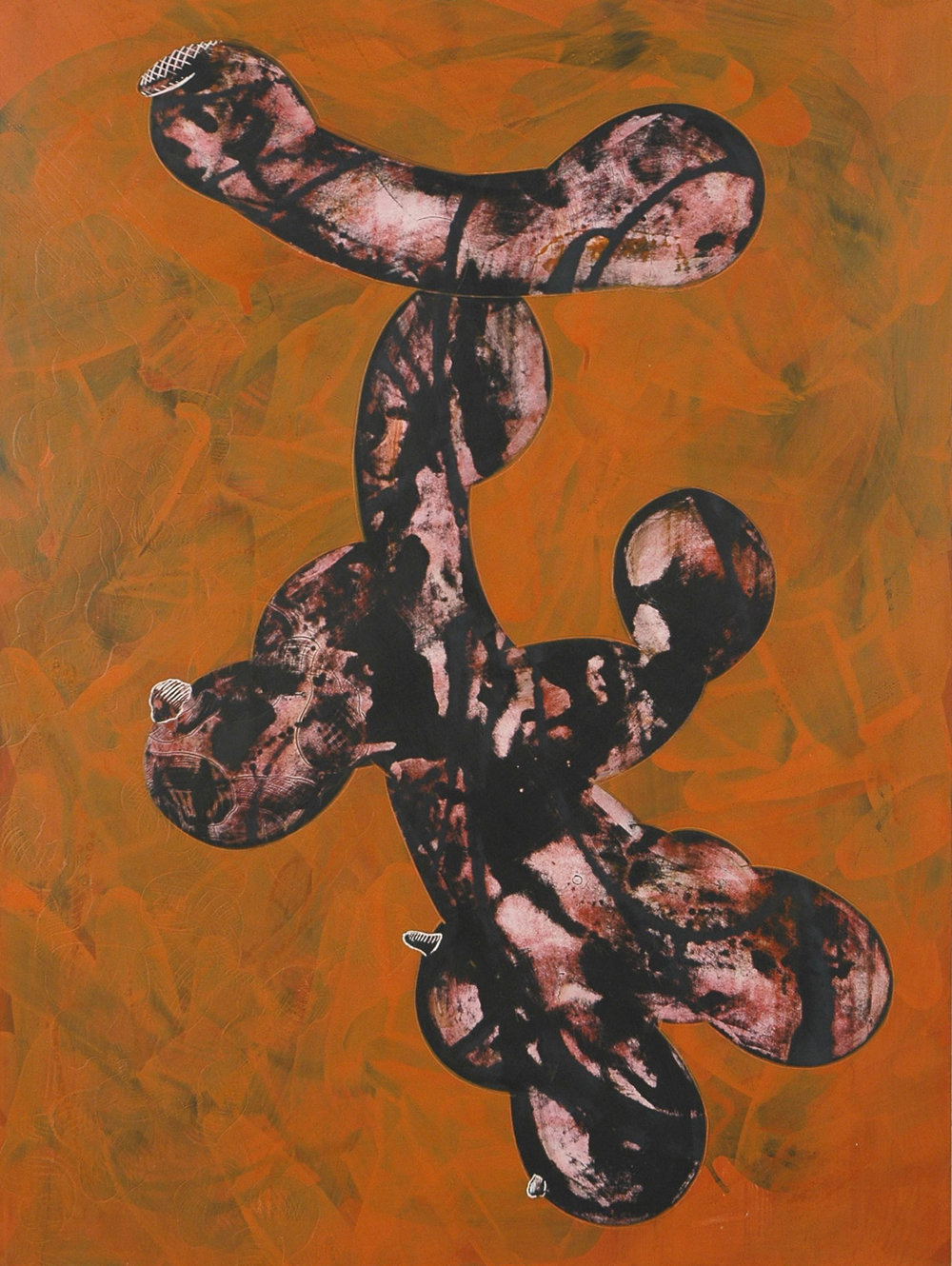 "Orange_Black Figure   acrylic  20"" X 16""  2011"