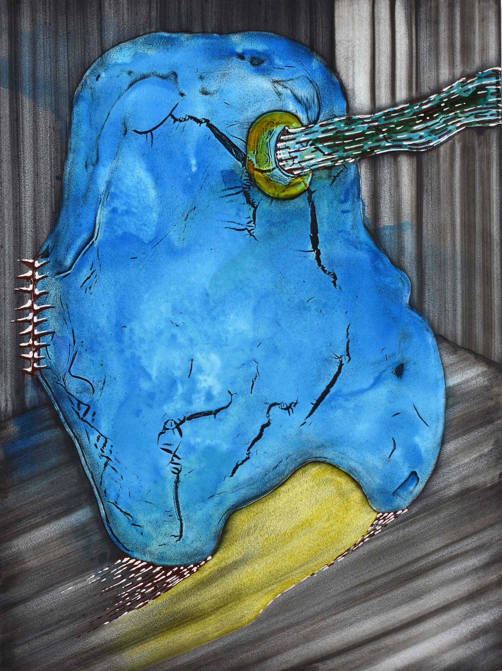 "Blue Form   acrylic  24"" X 18""  2016"