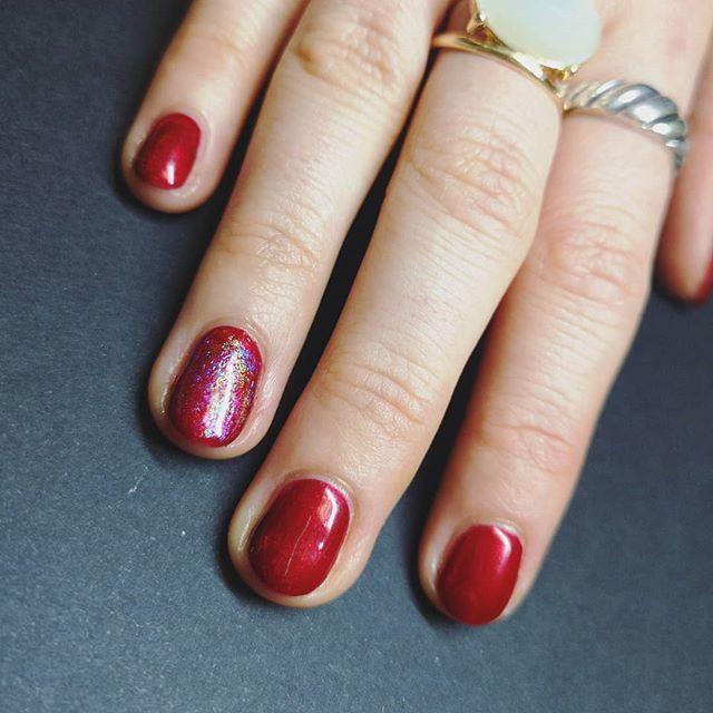 Tis the season for red nails with a subtle splash of rainbow just coz 🌈  #rednails #gelmani #naturalnails #nailsedinburgh #nailsoftheday #nailfie #ladybosslife #nailswag