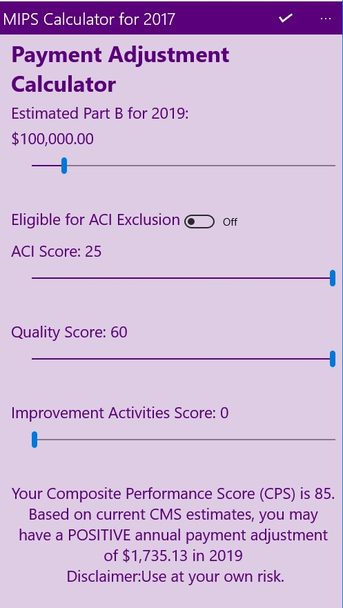 Providers and Practice managers can calculate the MIPS score for their practice and estimate it's financial impact by downloading the free MyMipsScore App available for iPhone, iPad, Android & Windows 10 devices.