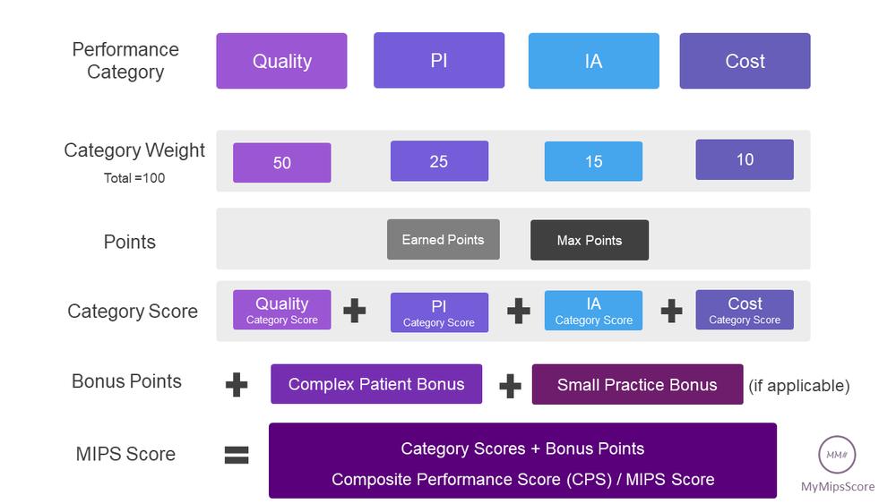 Final MIPS Score = IA Weighted Score + PI (ACI)Weighted score + Quality Weighted Score + Cost Weighted Score + Complex Patient Bonus + Small Practice Bonus