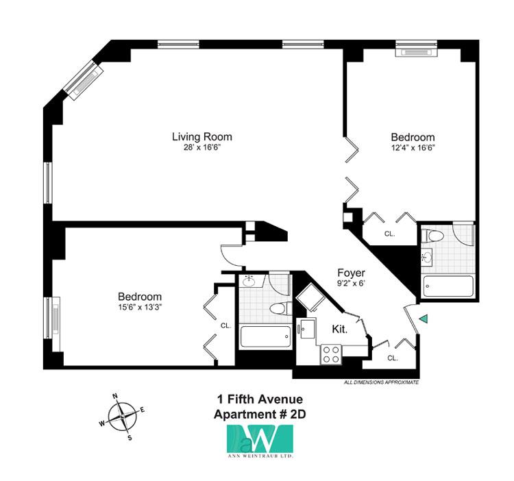 One Fifth Avenue Apt. 2D Floor Plan