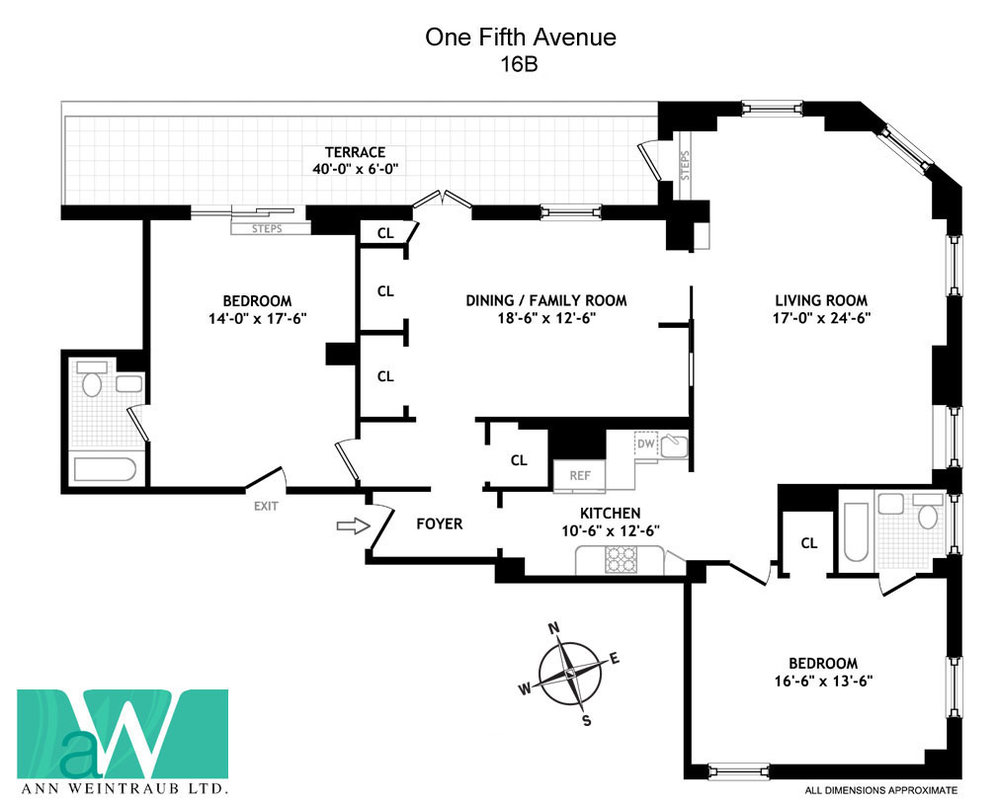 One Fifth Avenue Apt. 16B Floor Plan
