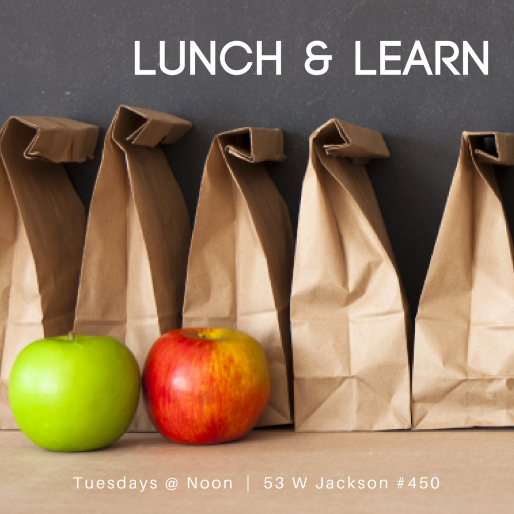 Lunch and Learn - Join us at the HTC Office (53 W Jackson #450) every Tuesday at noon for lunch and a guided discussion around topics related to faith and work. Lunch is provided and there is a suggested donation of $5. We'll kick off the new year on January 23rd.