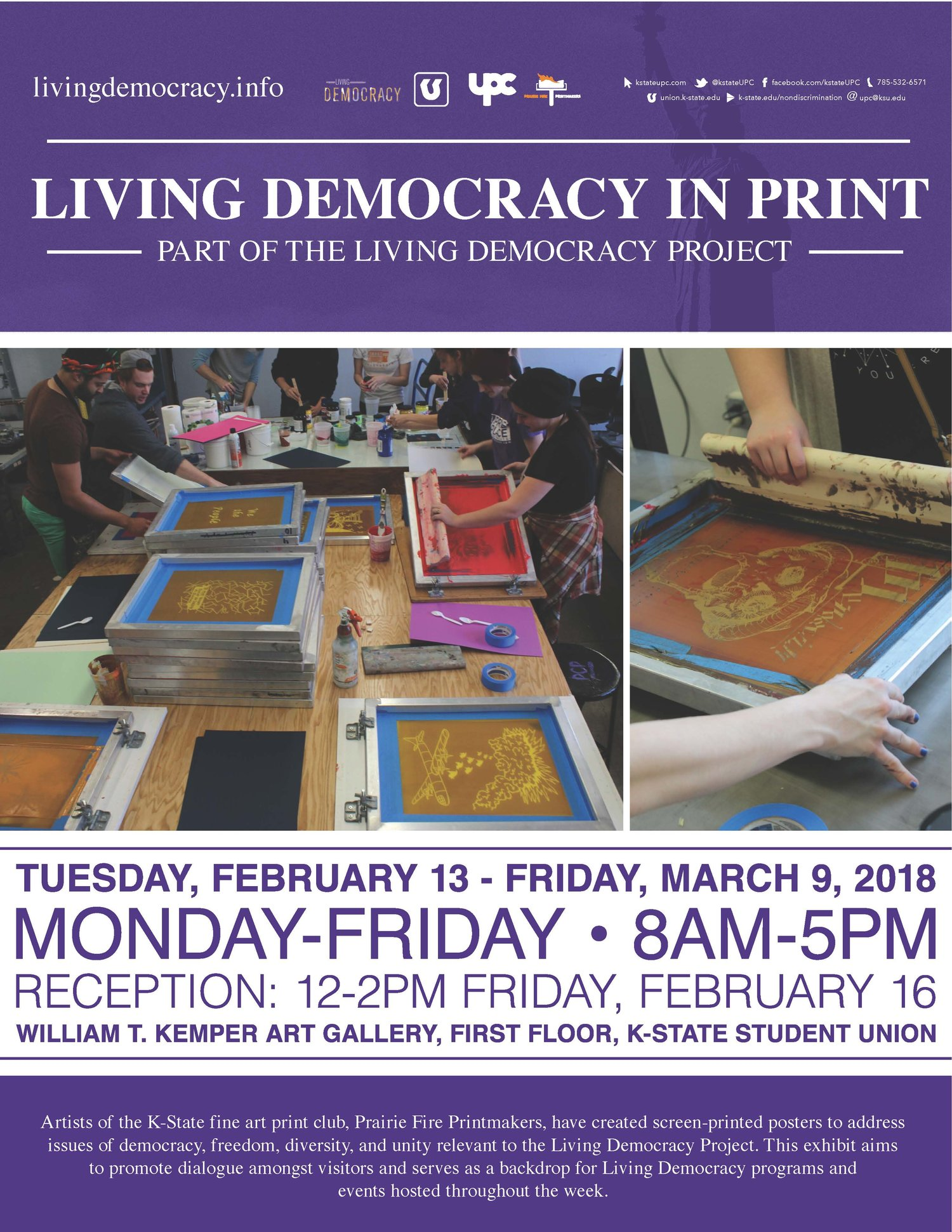 living democracy in print artist reception k state student union