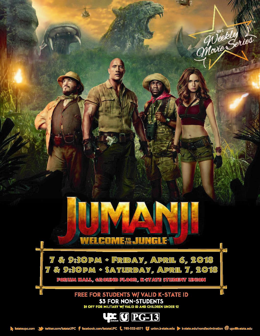Film jumanji welcome to the jungle pg 13 k state student union film jumanji welcome to the jungle pg 13 stopboris Gallery