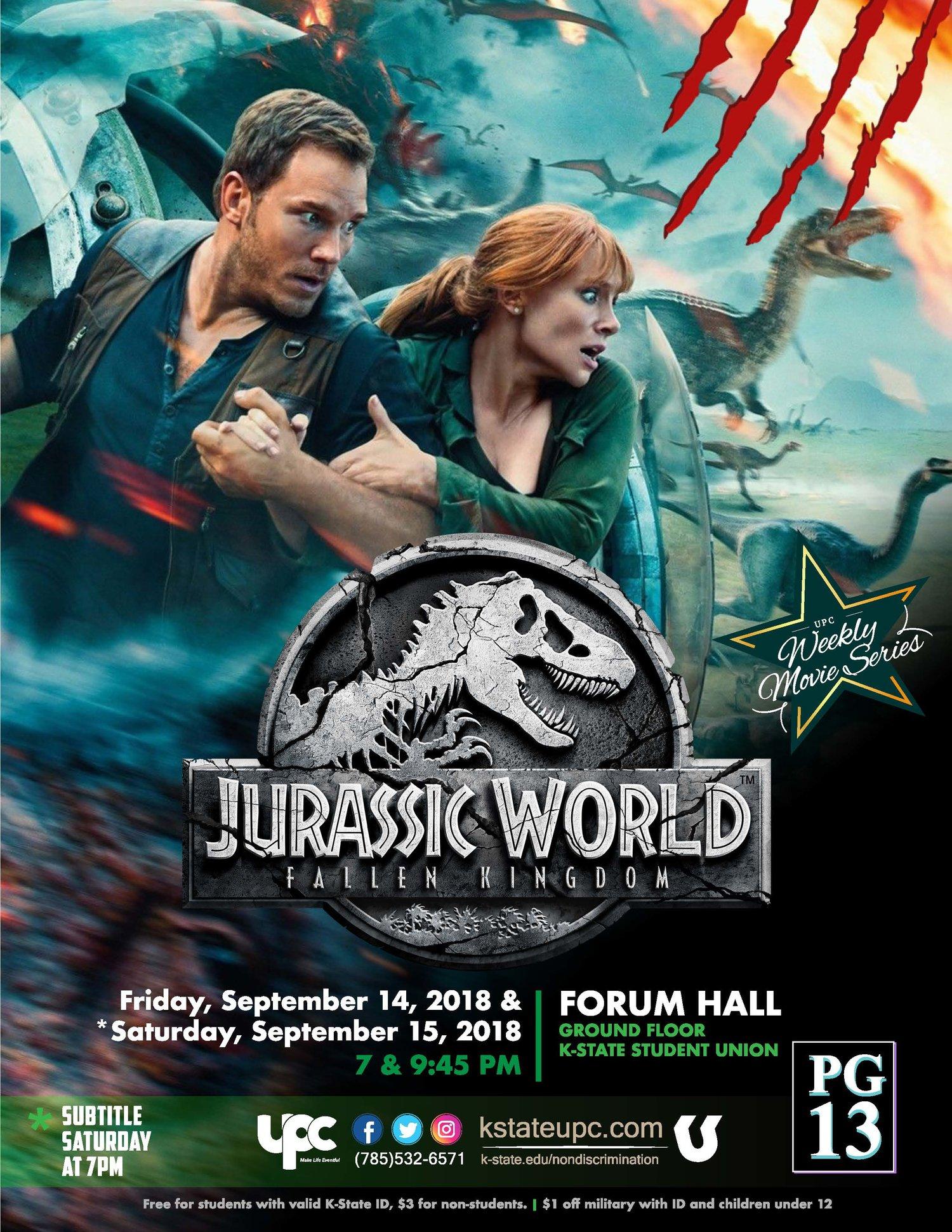 Film Jurassic World Fallen Kingdom Pg 13 K State Student Union Program Council