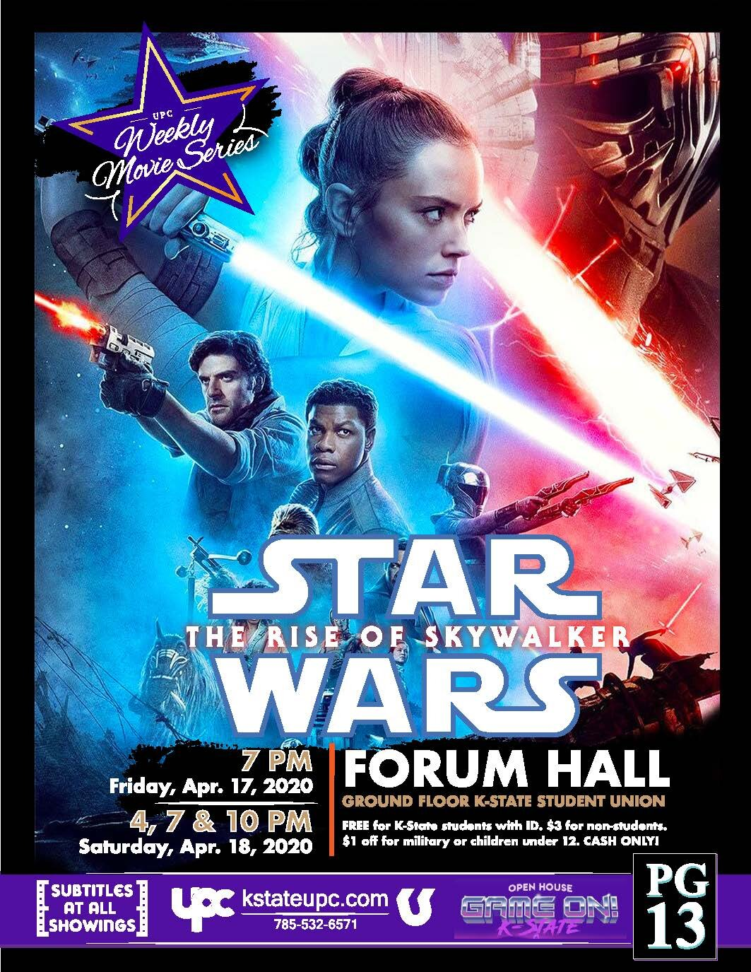 Canceled Film Star Wars The Rise Of Skywalker Pg 13 K State Student Union Program Council