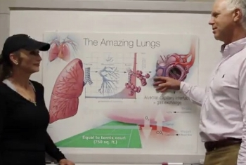 Linda listens to Dr Bruce Johnson as he explains Lung Fun Facts.jpg