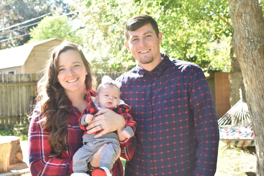 Matt Johnson (right) - College Pastor, wife Sarah (left), and daughter Norah (middle)
