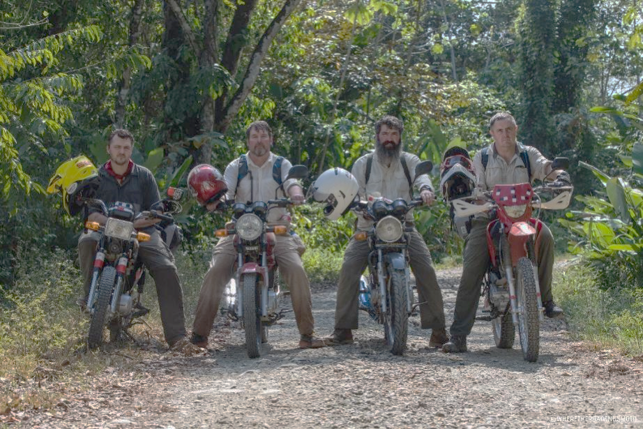 Four Army vets. Four motorcycles. Fourteen countries. One impassible jungle. [ From left: Wayne Mitchell, Richard Doering, Mike Eastham, Simon Edwards ]