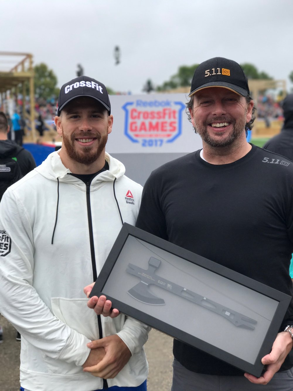 Current 1st Place Ranking CrossFit Service Open leader, Albert-Dominic LaRouche,   with 5.11's Vice President of Global Marketing, Willem Driessen