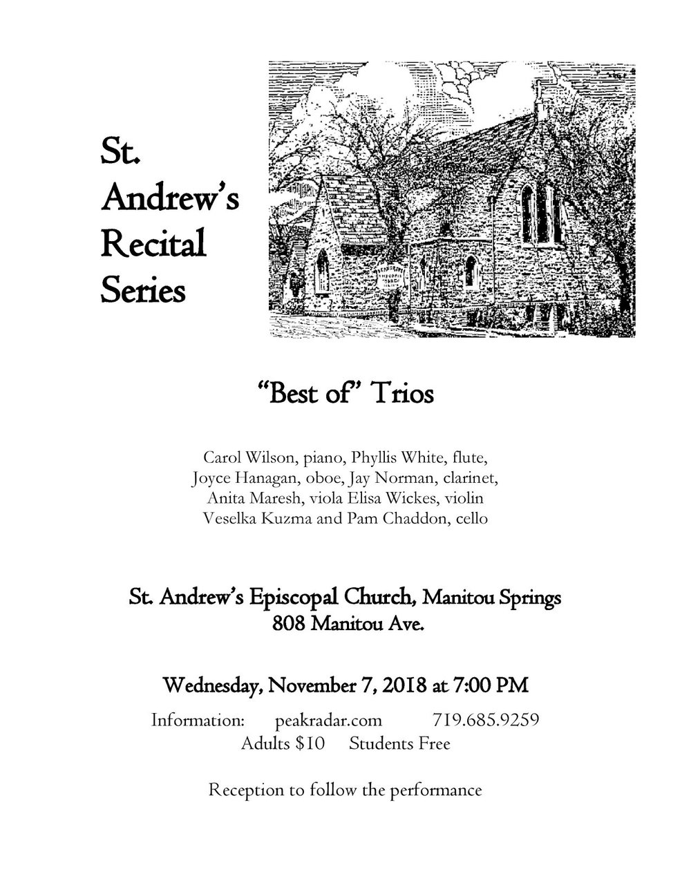 Trio – a group or set of three, in this case, a musical composition for three instruments.  There is different instrumentation for each trio on this program. Music from the Baroque, Classical, Romantic and 20th century periods are presented, all of which use the piano as the common instrumental voice and, so, are called piano trios. The remaining voices are drawn from woodwinds, flute, oboe, clarinet, and strings, violin, viola, cello.  The piano is the foundation for each of these compositions that includes trios that are less often performed by Loeillet, Kuhlau, Clara Schumann, Bruch and Gaubert.