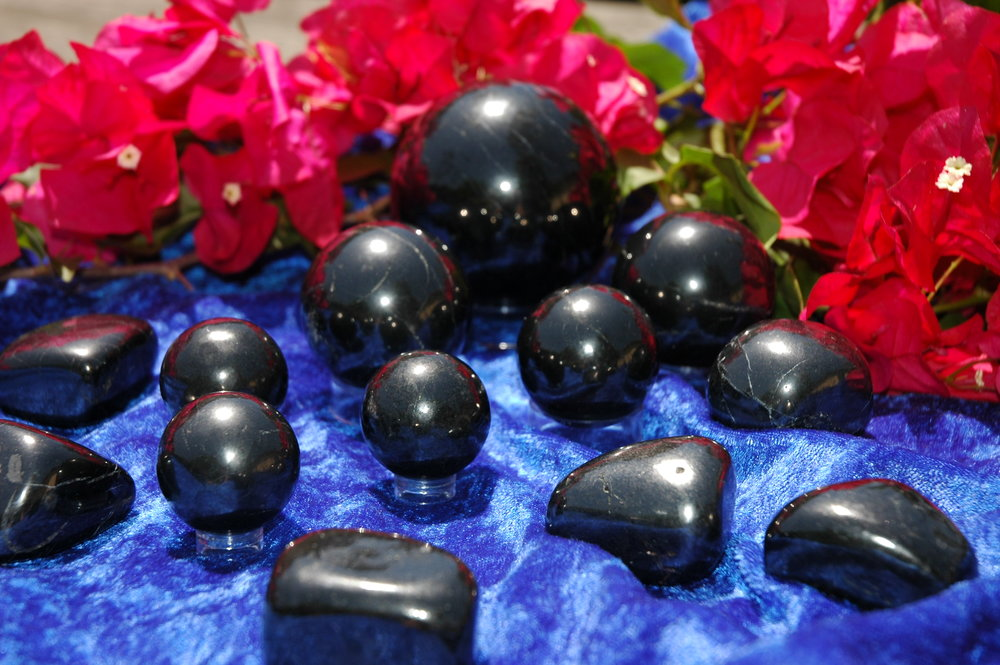 Assorted Shungite Spheres and Pebbles
