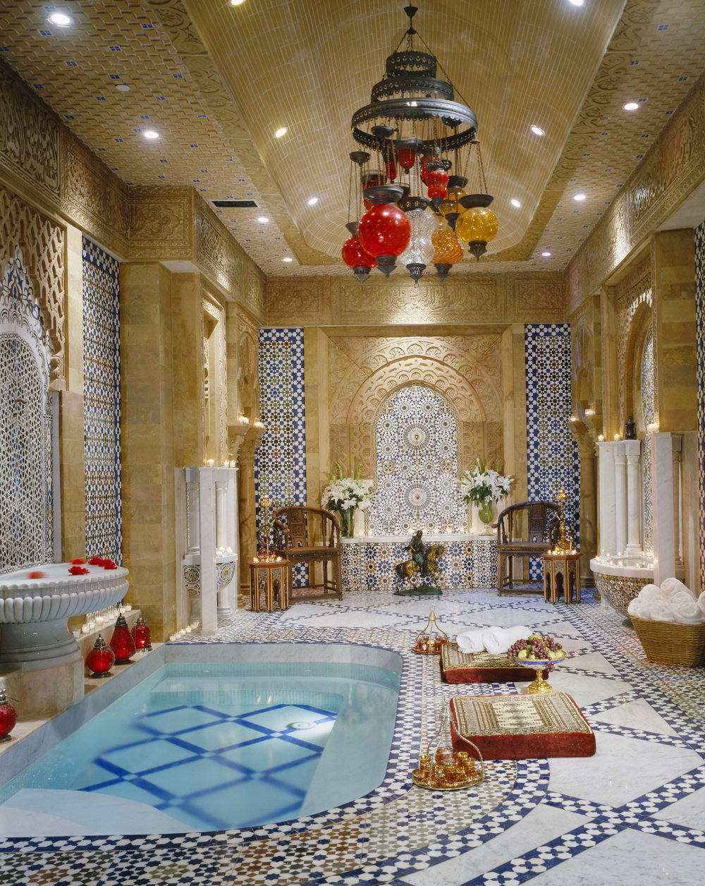Hammam (Turkish Bath) with fountains and artisanal tile work in this home in Bel Air, Los Angeles.[1000×1256]