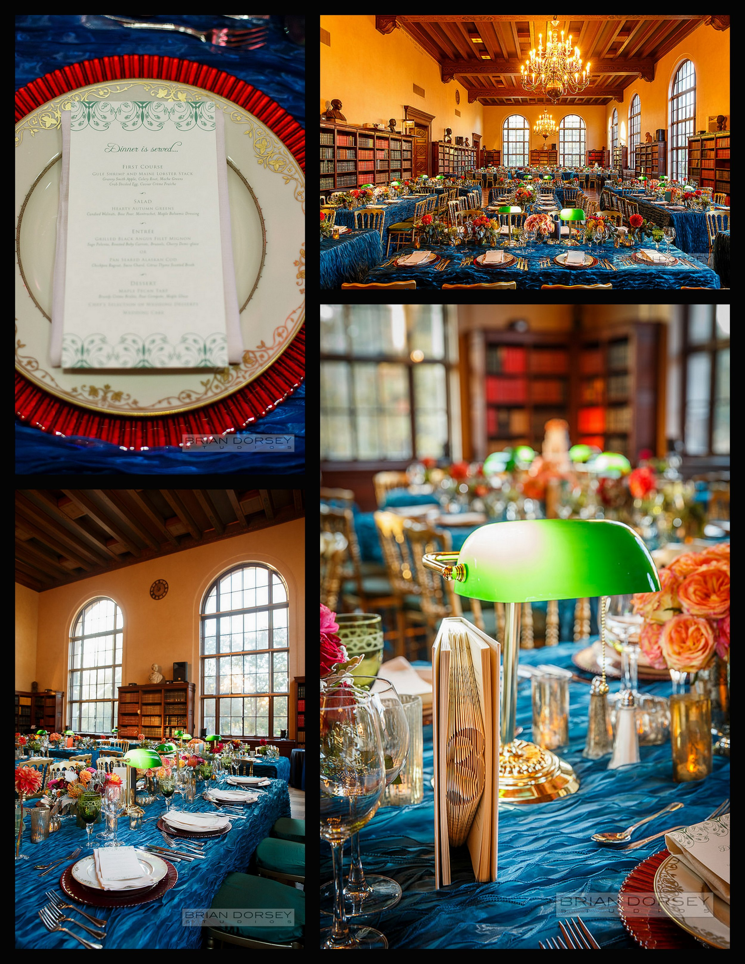 menu, reception room, blue tablecloths, library lamps