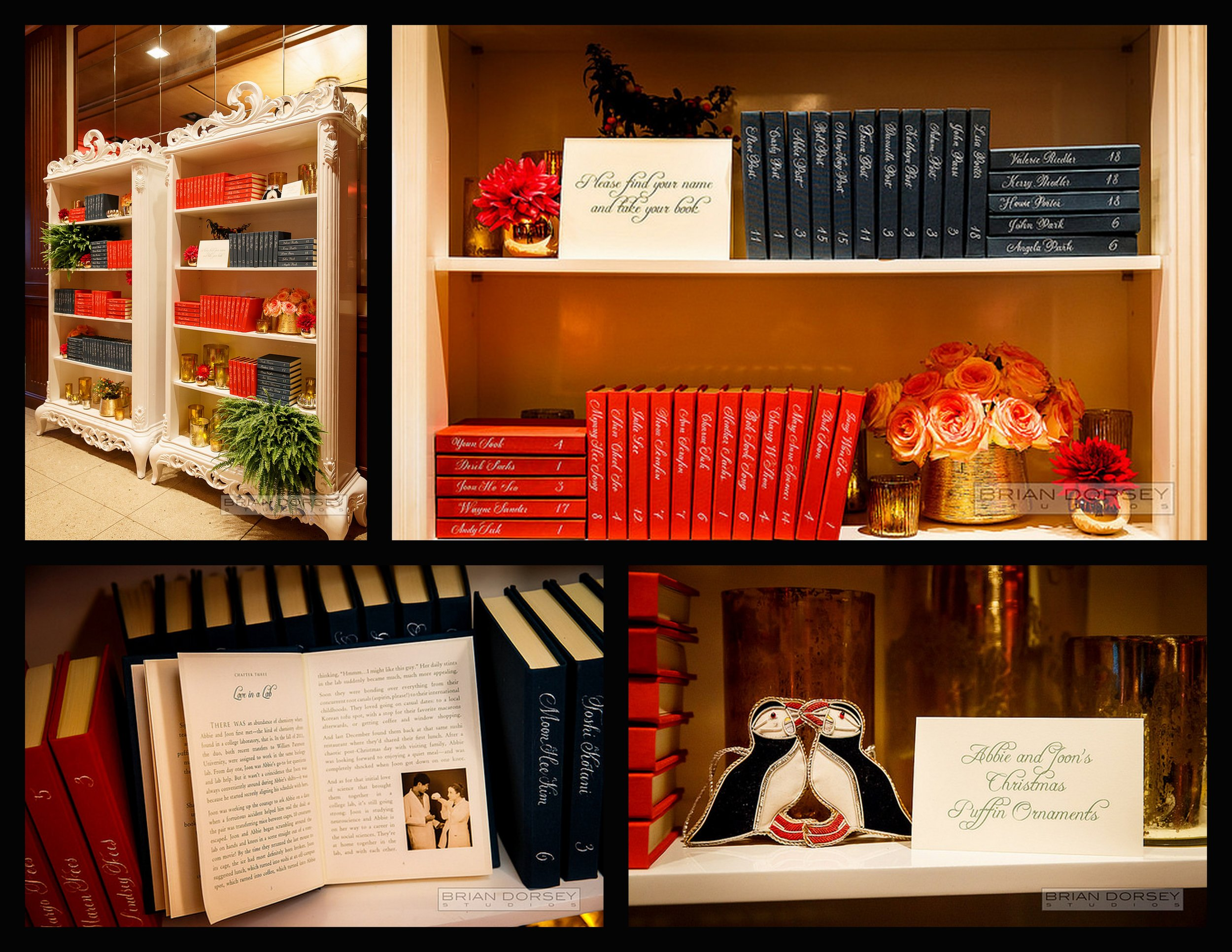 reception bookcase, book favors, penguin ornament