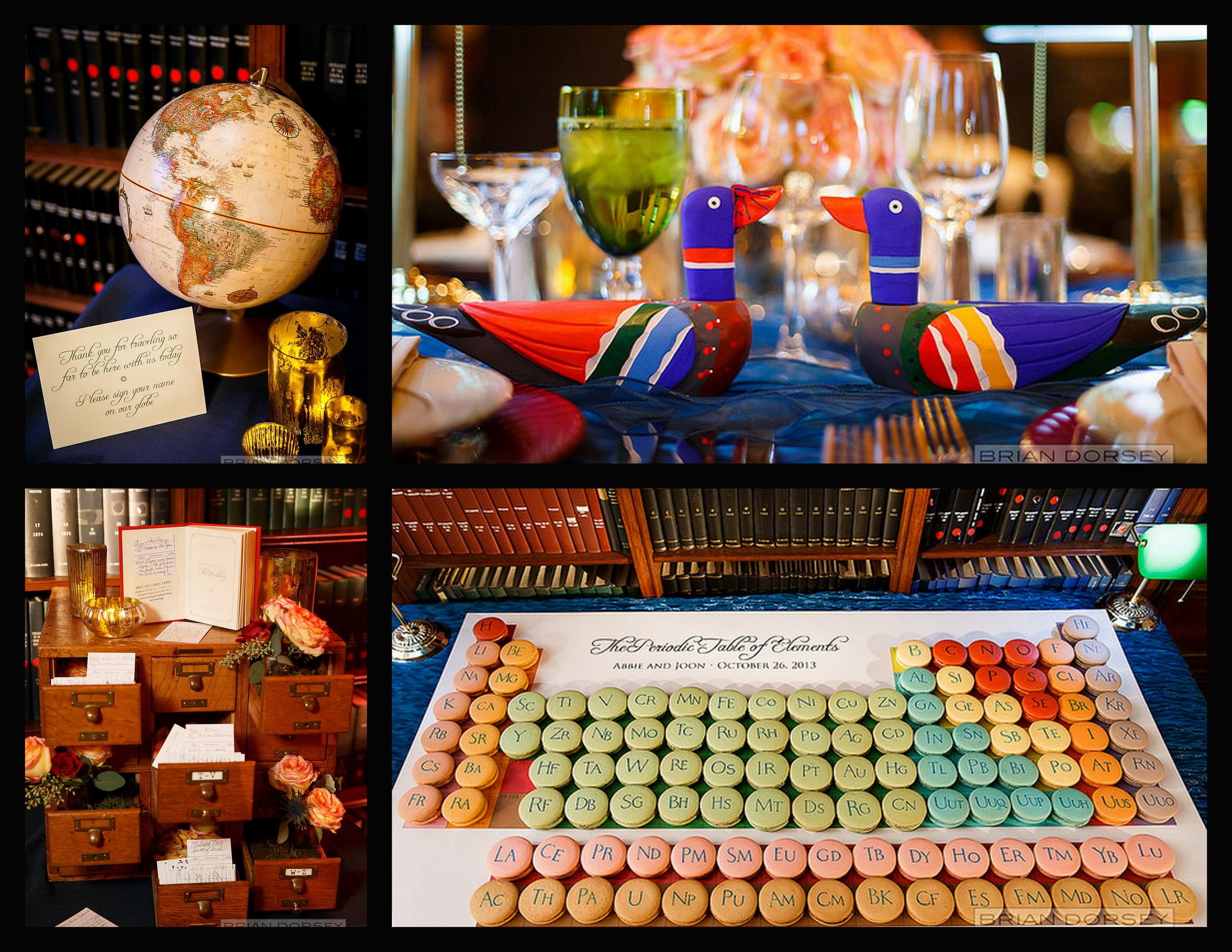globe guest book, decoy table decorations, library card catalogue, periodic table of macaroons