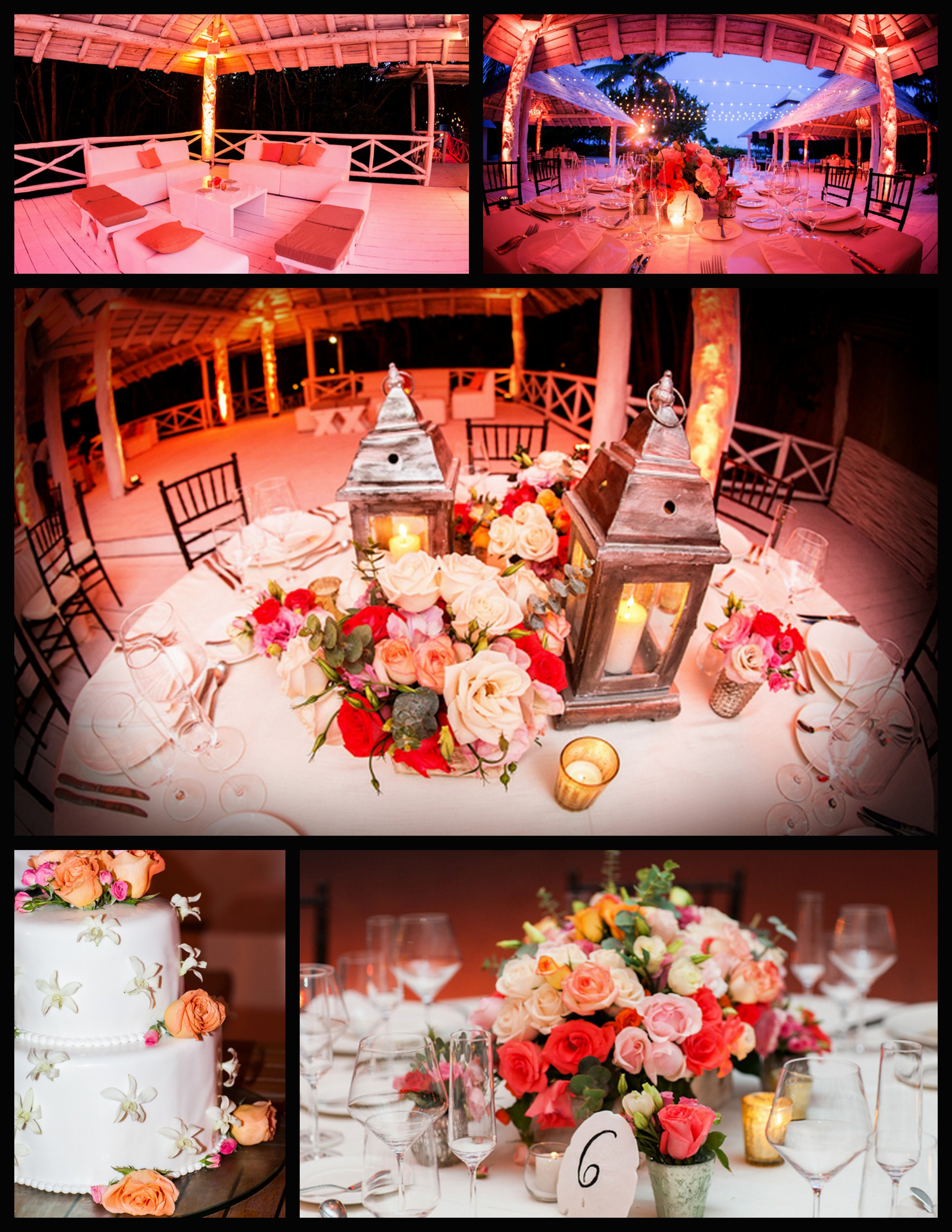 lounge seating, beachfront reception, table lanterns, undone floral centerpieces