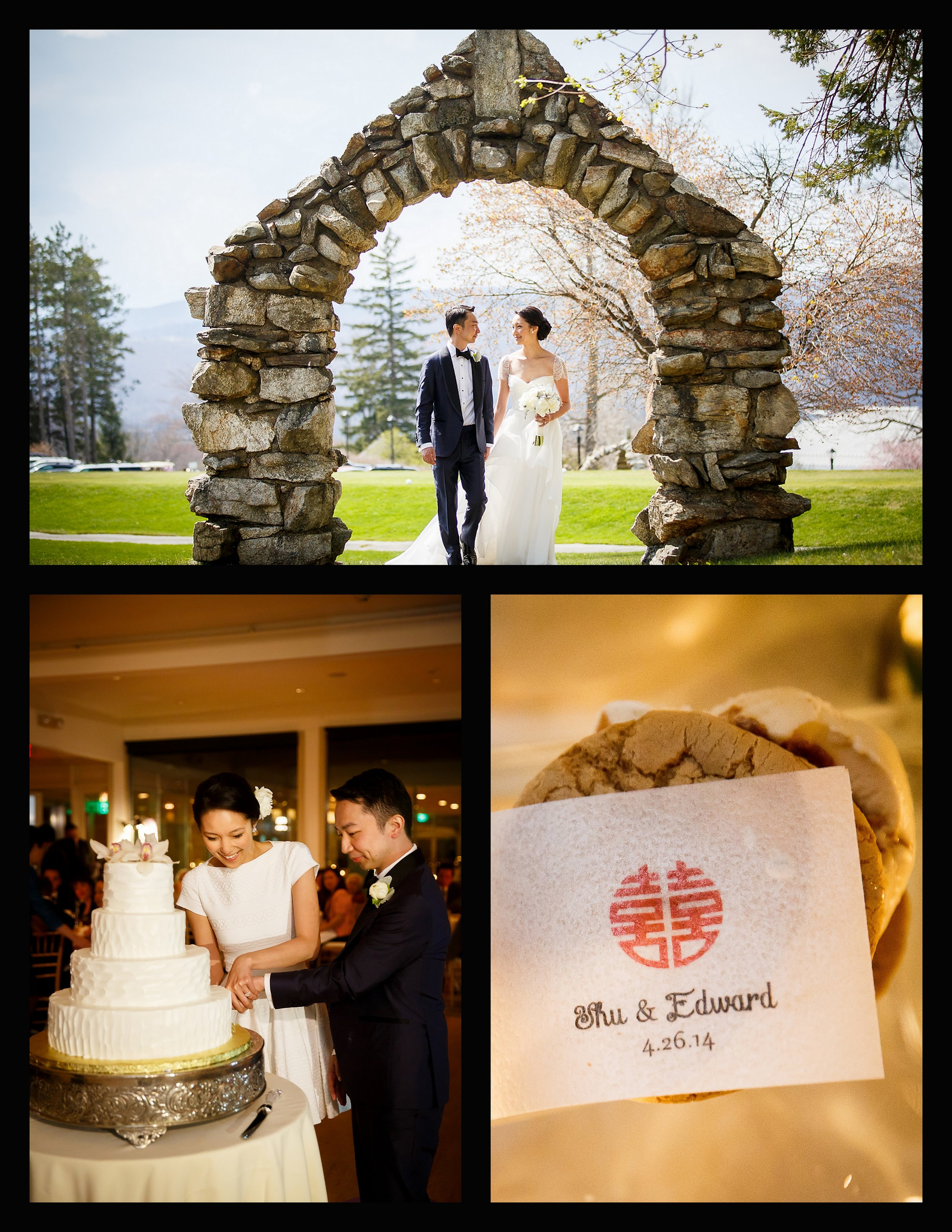 couple under stone arch, cake cutting, coolhaus favors