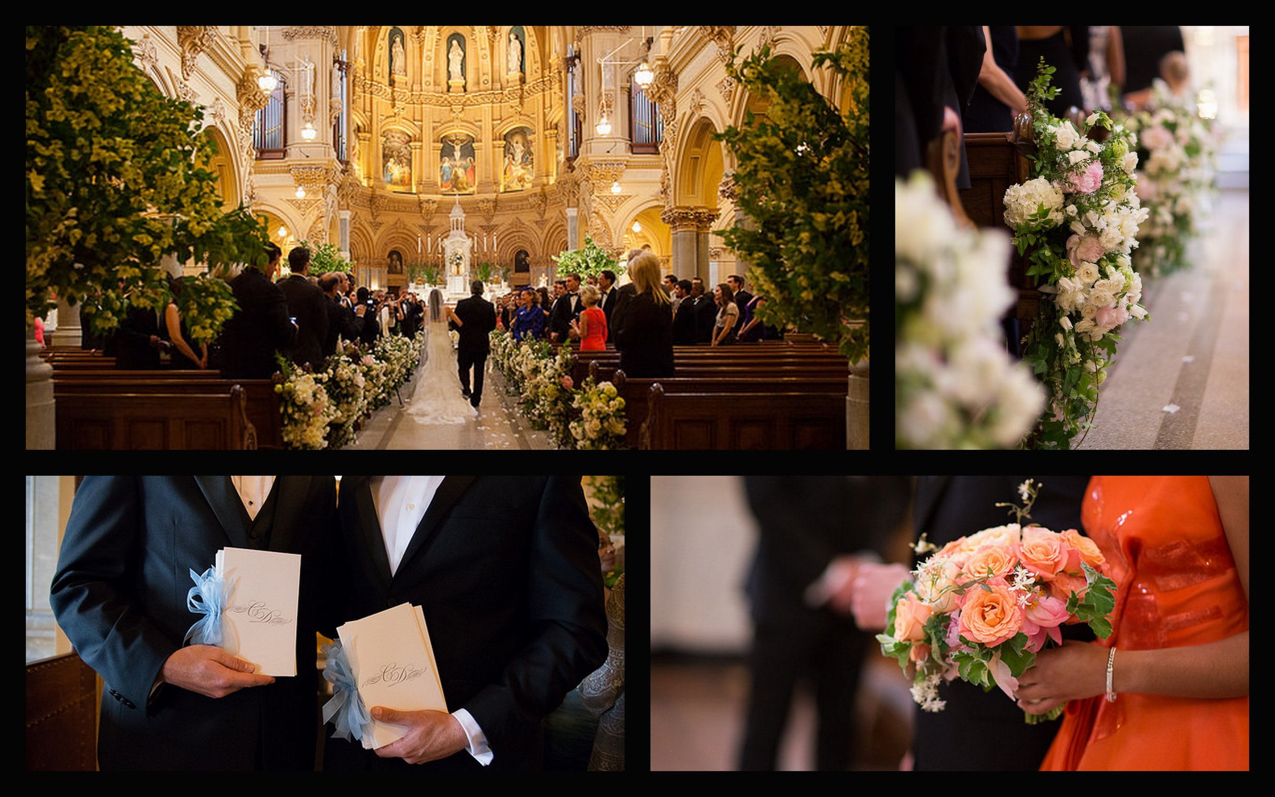 St. Francis Exavier Church, aisle, orange bridesmaid bouquet, wedding programs