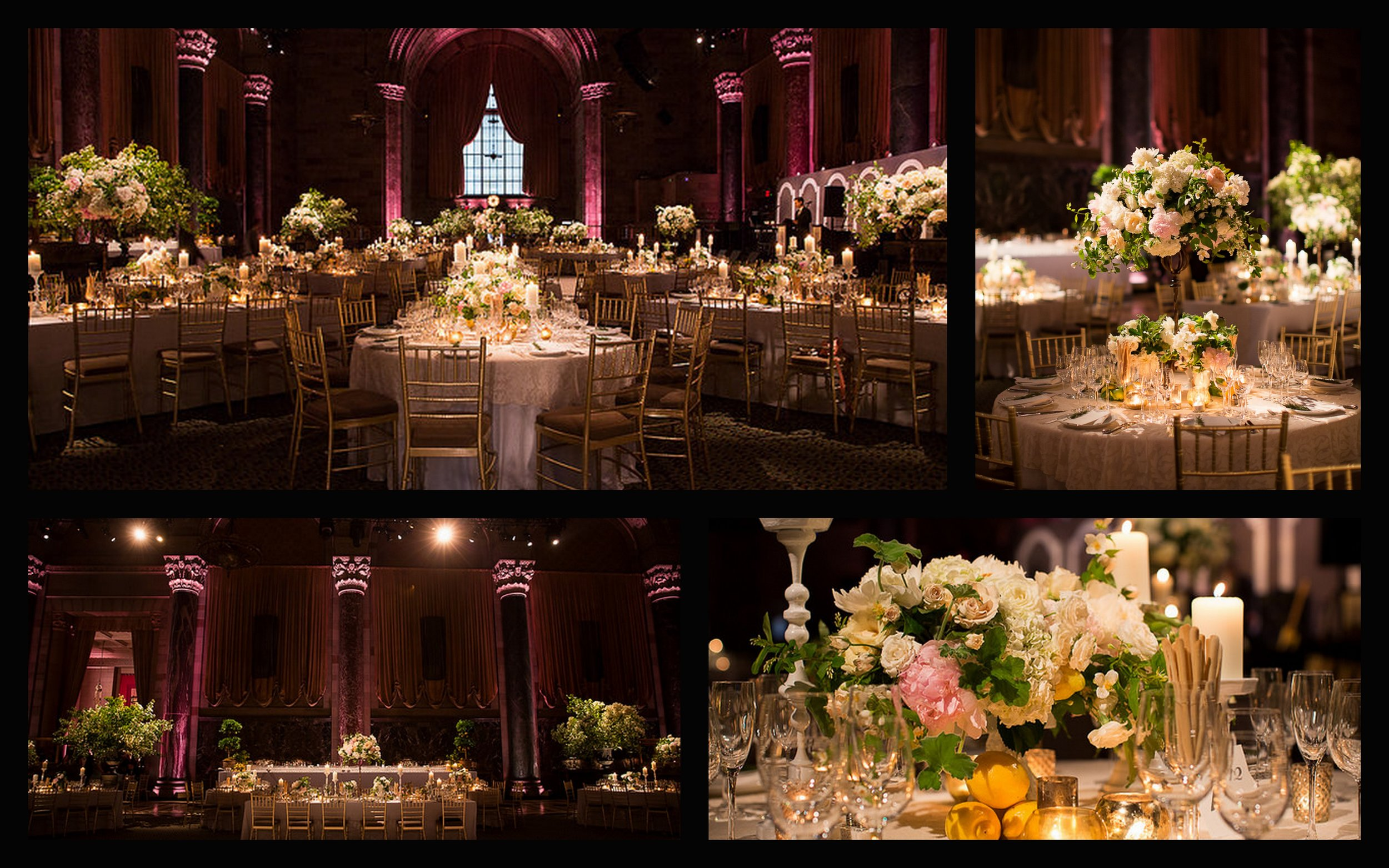 Cipriani 42nd Street, Lemon centerpieces, wedding lighting
