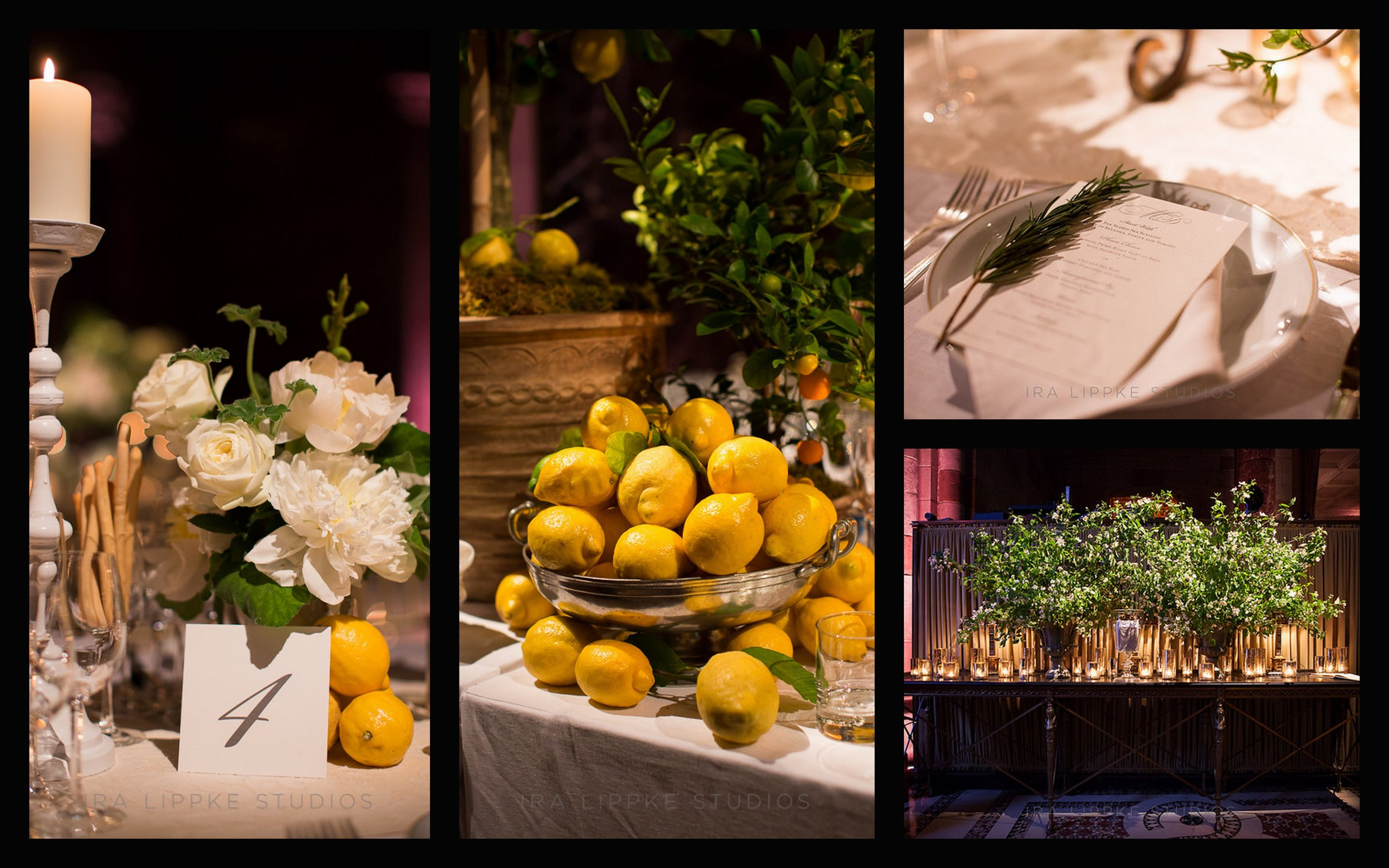 Table numbers, lemons as decor, rosemary on plate with menu