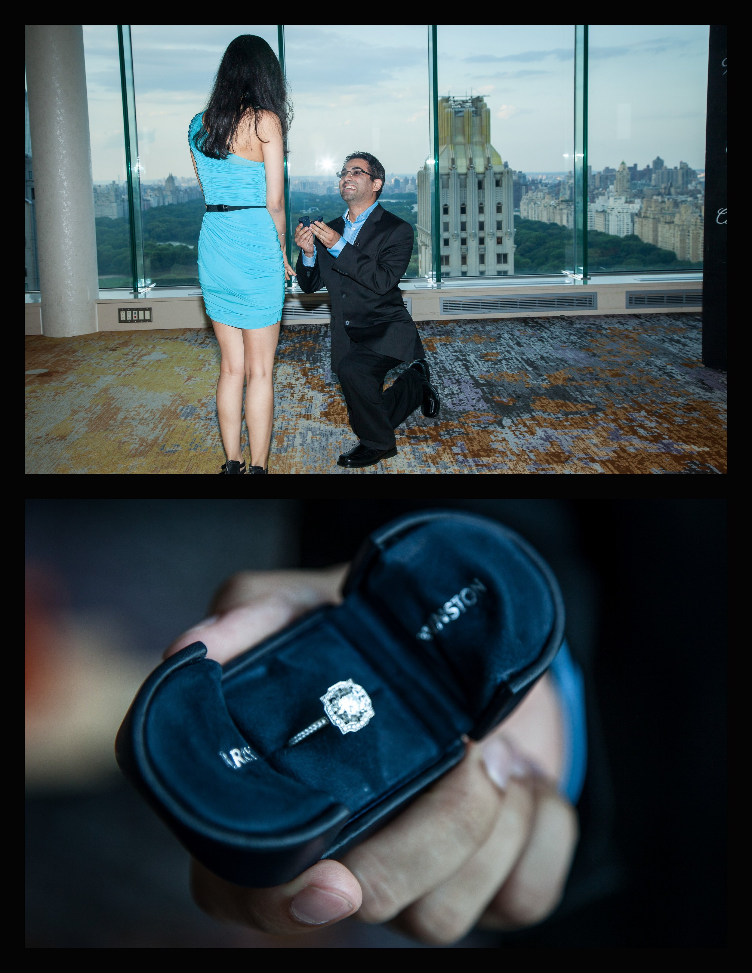 nyc skyline proposal, halo engagement ring