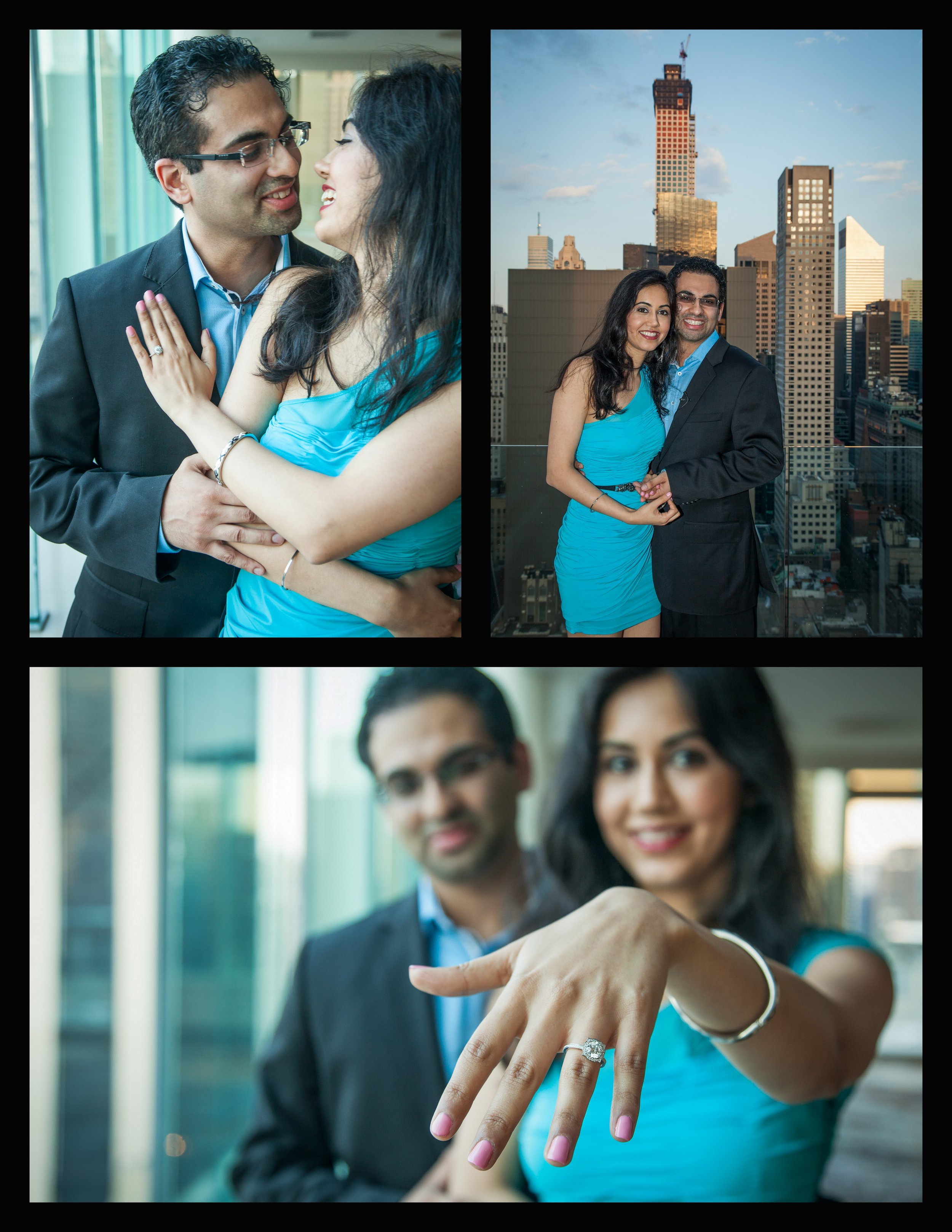 happy couple, nyc skyline, engagement ring