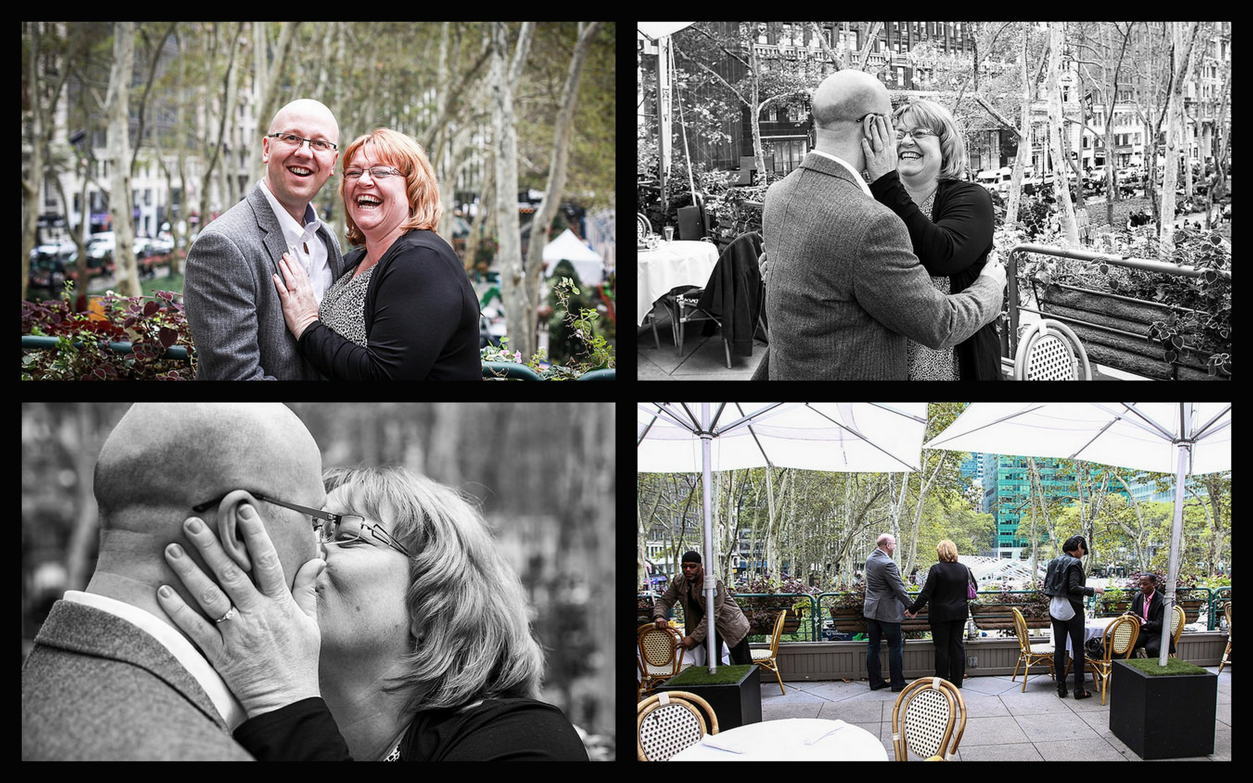 Happy Couple, Kissing Couple, Couple Overlooking Bryant Park