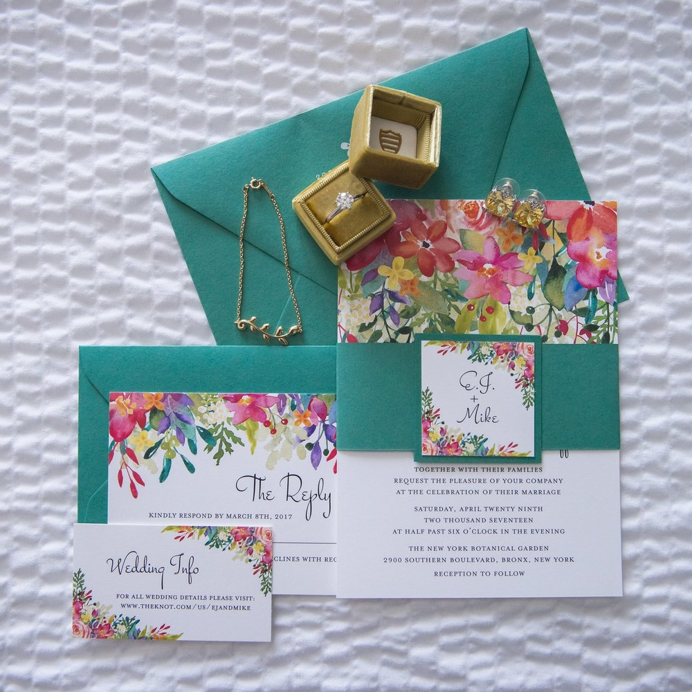 Watercolor invitation suite.  Photo by Heartfelt Studios.