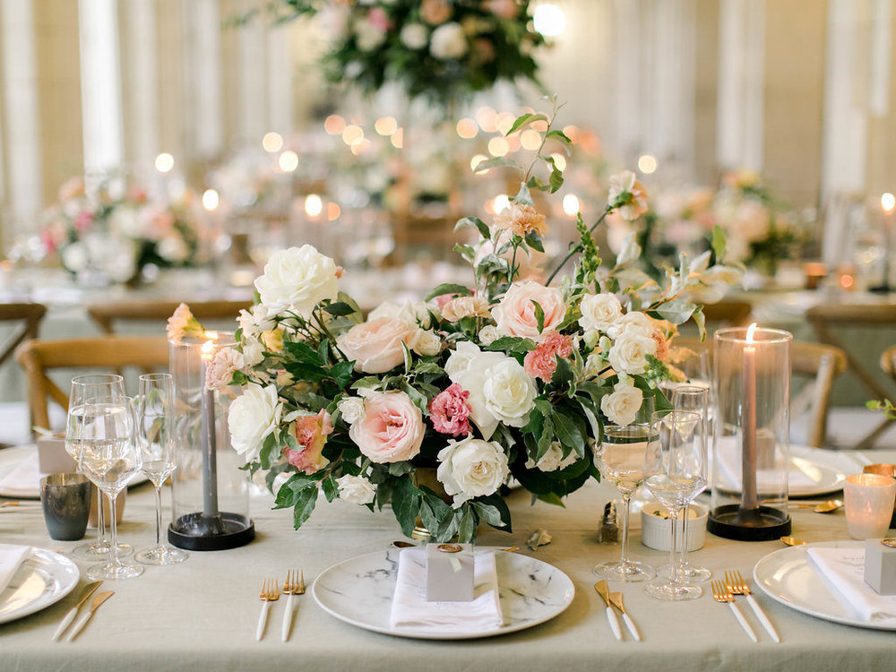 Blush and Grey wedding Centerpiece