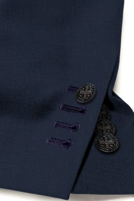 Custom made blue blazer with functional buttons