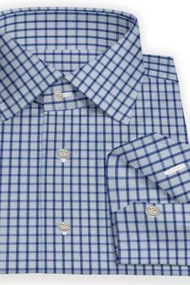 Custom made blue checked shirt