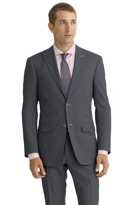 Custom made Light grey striped suit