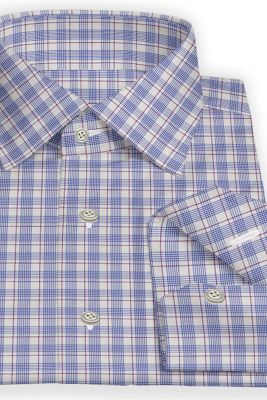 Custom made Blue and pink checked shirt