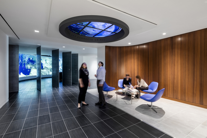 Pivoting doors dramatically open to reveal a giant global interface known as the Airbus Briefing Room