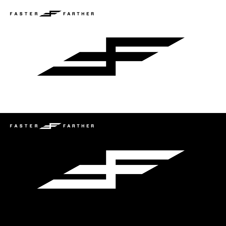 The Faster Farther logo is a twin lighting bolt, symbolizing the twin creative forces of passion and perseverance. It's also two F's shoved together; a double middle-finger nod to my 3rd grade teacher who ripped up my drawings of a harrier jet. I won't forget you Mrs.Pearson.