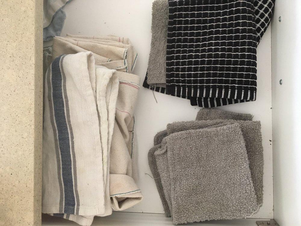 Our kitchen rag & napkin drawer.