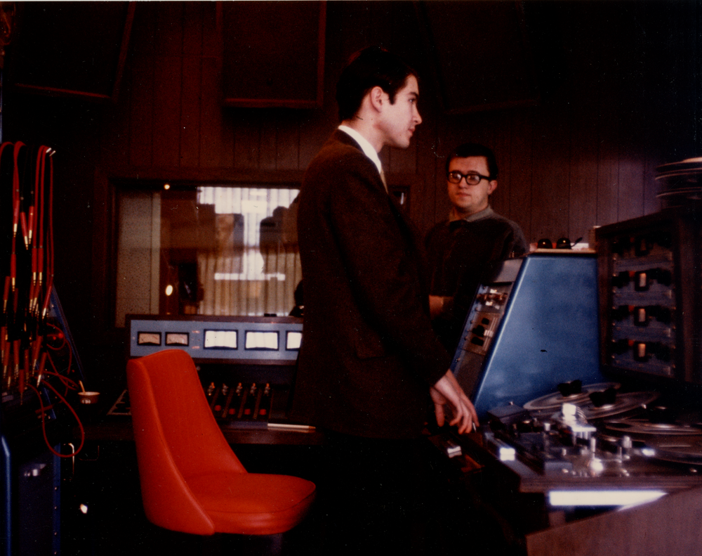 John Fry and Jim Dickinson in the control room on National St.