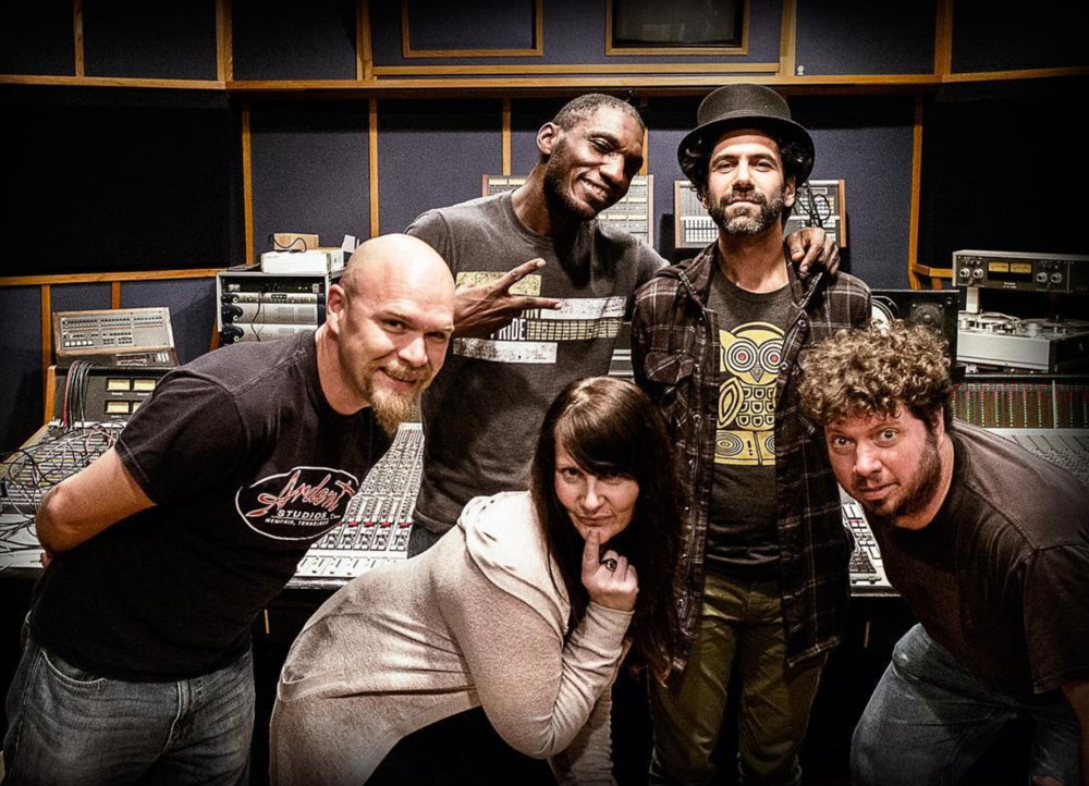 Studio B: Mike Wilson (engineer), Cedric Burnside, Mona Ables, Brian Jay, and Adam Hill (engineer). ©AlexanderKoffler